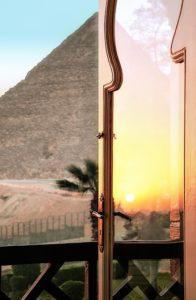 Egypt open window pyramid sunlight